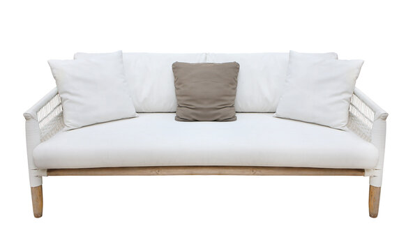 white wicker sofa isolated on white background. Details of modern boho, bohemian , scandinavian and minimal style . eco design interior