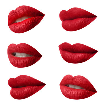 Set of mouths with beautiful makeup on white background. Matte red lipstick