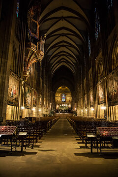 Interior of the famous cathedral of Strasbourg .
