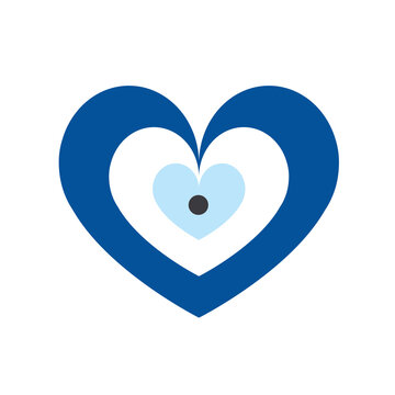 blue evil eye vector in heart shape