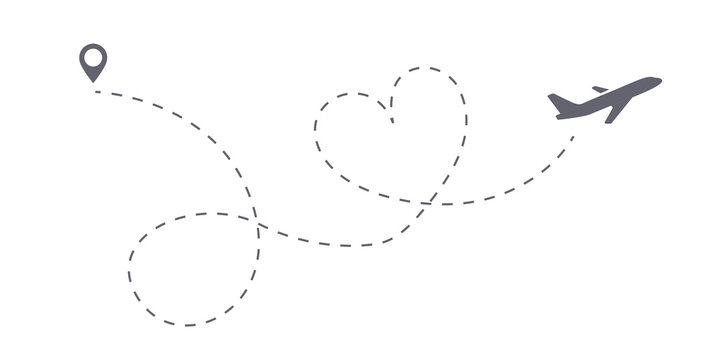 Love trip airplane route icon. Honeymoon Romantic travel symbol, heart dashed line trace. Simple hearted airplane path, flight air dotted love valentine day drawing isolated vector.