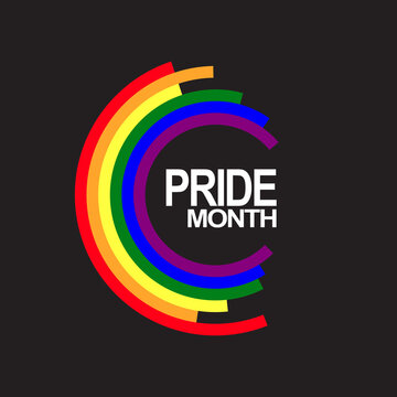 Abstract circle colored in rainbow color and text pride month inside in circle isolated on black background. Pride and LGBT concept. Copy space for design or text. Flat vector illustration
