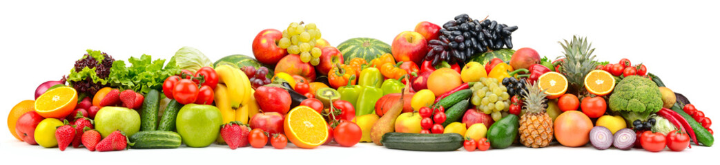 Wall Mural - Wide collage ripe, fresh vegetables, fruits and berries isolated on white