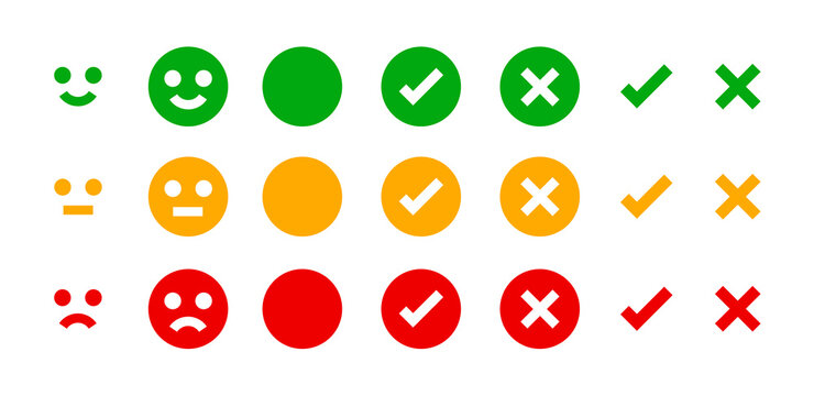 icon emotions face, emotional symbol and approval check sign button, emotions faces and checkmark x or confirm and deny, button checkbox flat for apps, faces icons and checkmark choice for checklist