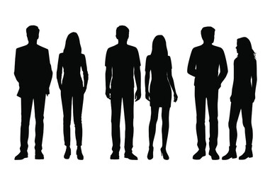 Fototapeta Set of vector silhouettes of  men and a women, a group of standing business people, black color isolated on white background