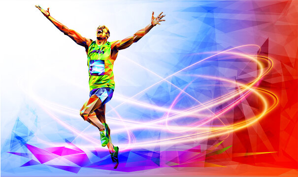 Olympic games, Tokyo 2020. 2021 Runner. vector illustration in triangles runner. Sport ruuner of triangle . Vector. winner. Runner n finish. Sport illustration in vector