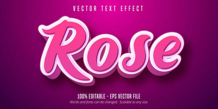 Editable text effect - 3d pink script style