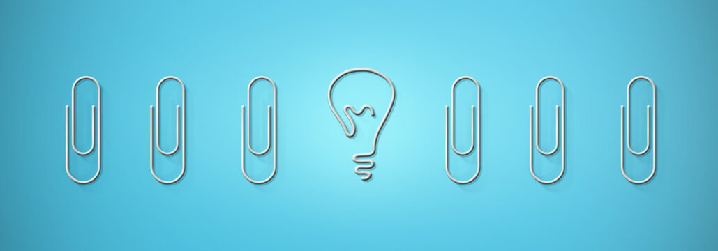 Creativity and uniqueness. Light bulb shaped paperclip standing out among others on blue background, illustration
