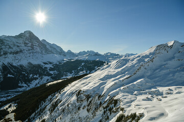 Wall Mural - Beautiful views on Bernese Alps as seen from top of First above Grindelwald