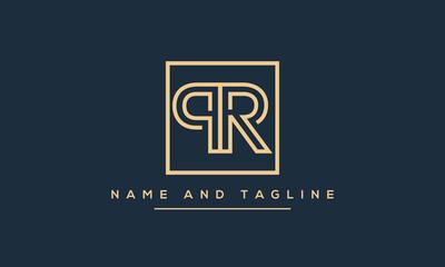 Fototapeta Alphabet letters monogram icon logo PR or RP obraz