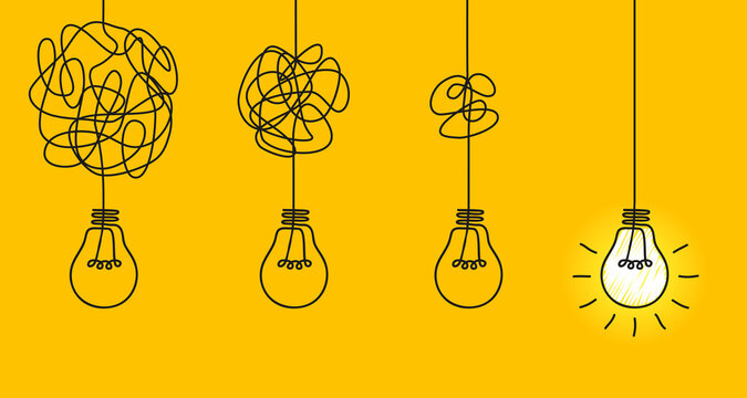 Idea concept, creative of simplifying complex process lightbulb, bulb sign, innovations, untangled of problem. Keep it simple business concept for project management, marketing, creativity