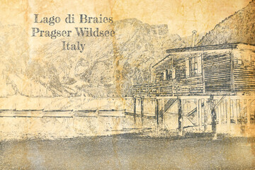 Wall Mural - Lago di Braies in Dolomites, sketch on old paper