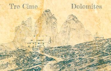 Wall Mural - Mountain shelter Dreizinnen hut, Dolomites, sketch on old paper