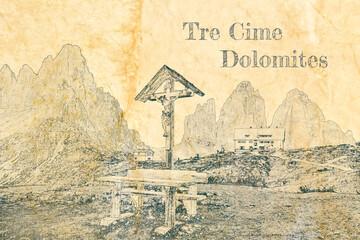 Wall Mural - Sketch of Christian cross, Tre Cime and Dreizinnen hut, Dolomites