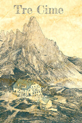 Wall Mural - Tre Cime and Dreizinnen hut in Dolomites, sketch on paper