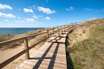 Wall Mural - Wooden boardwalk along the beach, Sylt, Germany