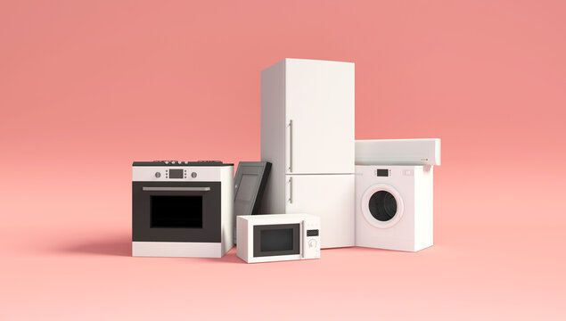 Group of home appliances. Refrigerator, Gas cooker, Microwave, Cooker hood, Air conditioner and Washing machine on pink studio background