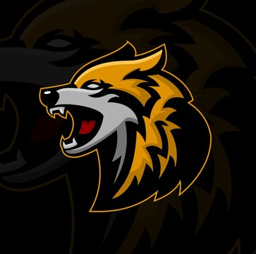 wolf mascot gaming esport logo vector