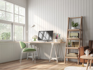 Wall Mural - Vintage working and living room 3d render.there are white plank wall,wooden floor Decorate room with wood table,green fabric chair and brown leather sofa with white window overlooking to nature view.