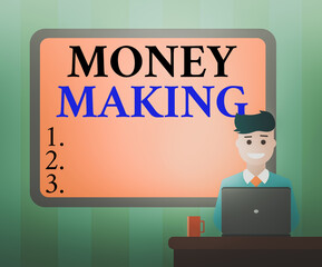Handwriting text Money Making. Conceptual photo Stress free time management good earnings profit and investment Blank Bordered Board behind Man Sitting Smiling with Laptop Mug on Desk