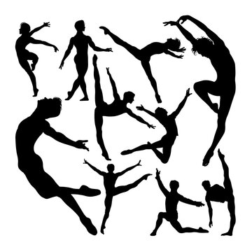 Male ballet dancer poses silhouettes. Good use for symbol, logo, web icon, mascot, sign, or any design you want.