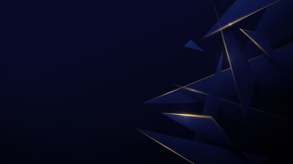 Wall Mural - Blue and gold low poly abstract. Technology digital hi tech background. Luxury pattern. Vector illustration