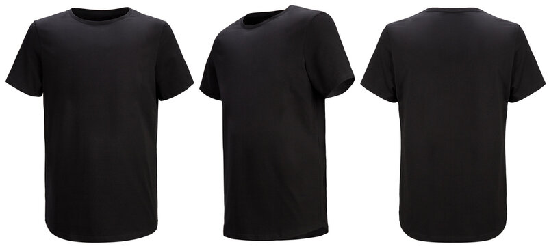 Shirt design and people concept - close up of blank black tshirt front and rear isolated. Mock up template for design print