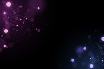 Wall Mural - Abstract light effect bokeh isolated on black background. Bright blue and purple glares. Colorful glitter. Flying magical dust for your design. Vector illustration