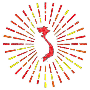 Sketch map of Vietnam. Sunburst around the country in flag colors. Hand drawn Vietnam shape with sun rays on white background. Vector illustration.