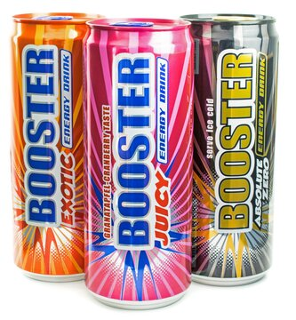 NIEDERSACHSEN, GERMANY APRIL 22, 2018: A group of various cans of Booster energy drinks on a white background