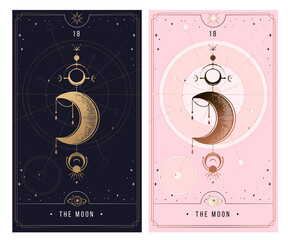 The Moon MAJOR ARCANA secret card, Tarot card gold with black and pink. Magical occult tarot card set. Engraving vector illustration. Cards isolated on white background for poster, sticker, template.