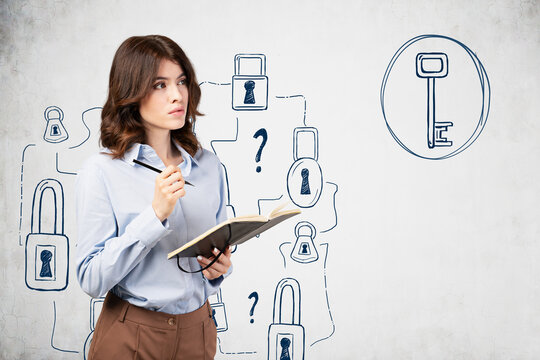Pensive woman with notebook, problem solving
