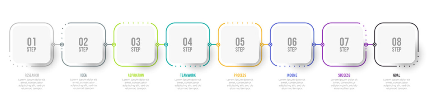 Business infographic thin line process with square template design with icons and 7, 8 options or steps. Vector illustration.