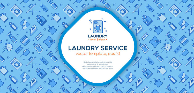 Laundry banner template with logo badge and outline pattern in square form. Card flyer poster illustration with your text for laundry, dry cleaning, housekeeping services.