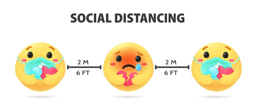 Social Distancing. Emojis showing anxious emotions Hold an alcohol gel for washing hands and wearing a mask