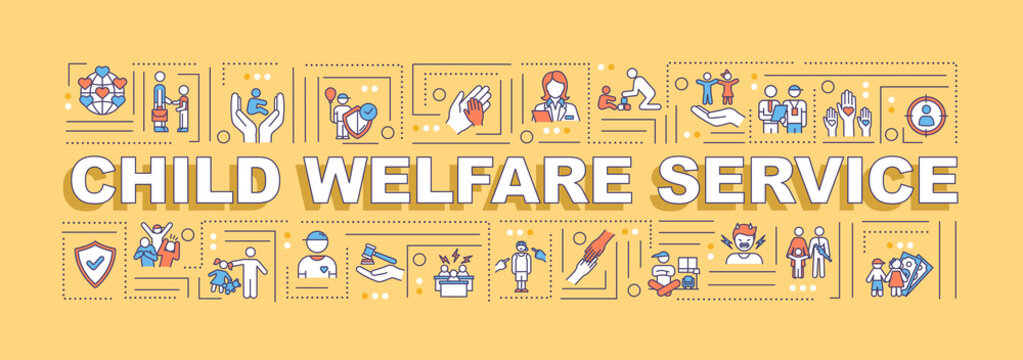 Child welfare service word concepts banner. Protection of youth. Support for kid. Infographics with linear icons on orange background. Isolated typography. Vector outline RGB color illustration