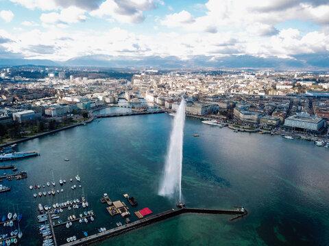 4k photo iconic landmark Jet D deau drone Aerial view of Geneva, Switzerland, Europe