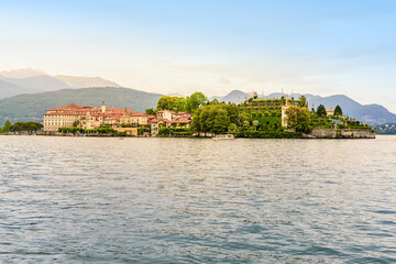 Isola Bella - fisherman island in Maggiore lake with mountains in the background, Borromean Islands (Isole Borromee), Stresa, Piedmont, Northern Italy - travel destination in Europe.