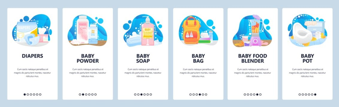 Prepare to be mother icons set. Baby diapers, powder, soap, baby pot. Food blender. Mobile app screens. Vector banner template for website and mobile development. Web site design illustration