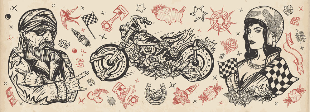 Bikers. Old school tattoo collection. Bearded biker man, burning motorcycle, rider sport woman. Lifestyle of racers. Pin up girl, spark plug, moto bike elements. Traditional tattooing style