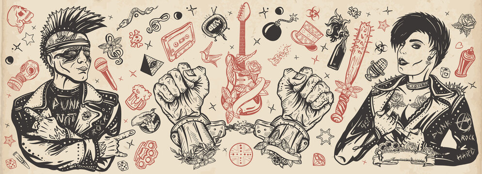 Punk rock music. Old school tattoo vector collection. Punker with mohawk hairstyle, rock woman, guitarist girl. Electric guitar. Anarchy art. Hooligans lifestyle. Traditional tattooing style
