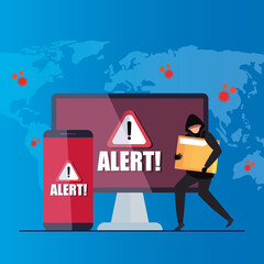 hacker with laptop and smartphone, danger warning sign during covid 19 pandemic vector illustration design