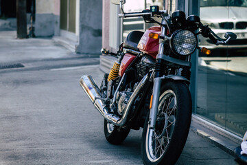 Fotomurales - Closeup of a motorcycle parked in the streets of Limassol in Cyprus island