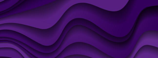 Wall Mural - Dark violet paper waves abstract banner design. Elegant wavy vector background