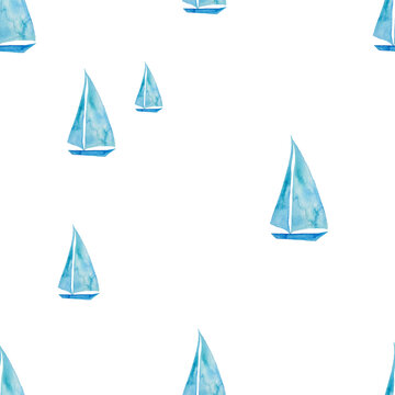 Watercolor Painted Seamless Pattern With Sailboat
