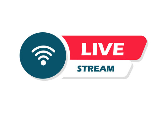 Button live streaming. Live stream logo. Live broadcast icon. Vector