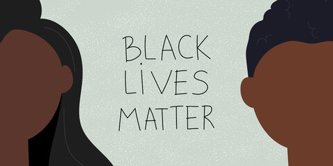 Racism concept. Web banner with young afro american people and text Black lives matter. Idea of demonstration for racial equality. Flat vector illustration