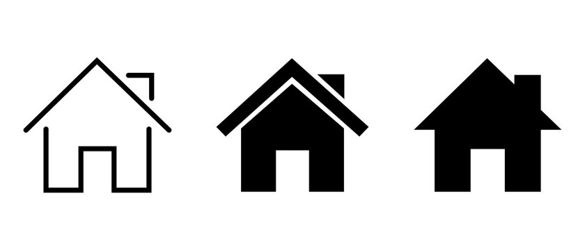 Vector home icons. House symbol. Set of real estate objects and houses black icons isolated on white background.