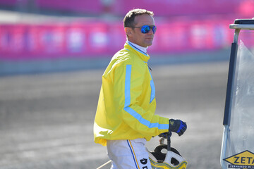 Driver Franck Ouvrie win the first trial race on his horse Earl Simon in the Elitloppet trotting event at Solvalla track without an audience due to the coronavirus disease (COVID-19) outbreak, in Stockholm