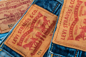 new LEVI'S jeans. LEVI'S is a brand name of Levi Strauss and Co, founded in 1853